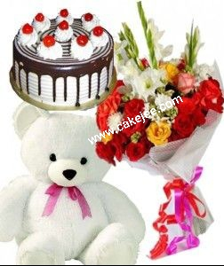 Black Forest Cake 12 mix roses bunch and a Teddy bear of 10 inch