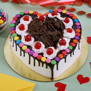 Heart shape black forest gems cake