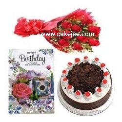 Black Forest Cake +12 red roses bunch +birthday card