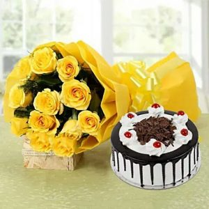 black forest cake + 12 yellow roses bunch with yellow packing