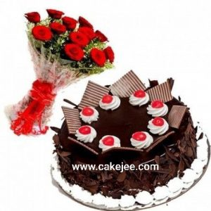 Chocolate cake +12 red roses bunch