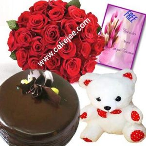 Chocolate cake +18 red roses bunch with packing + one 10 inch teddy