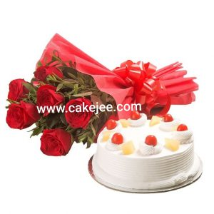 Pineapple Cake And 6 Red Roses Bunch