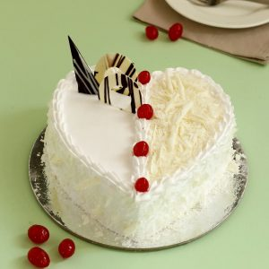 White Forest Cake- heart shape fresh cream with white chocolate