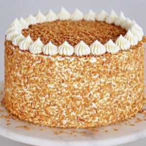 Butter scotch cake with fresh cream