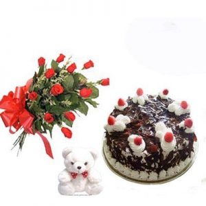 Cake with 12 roses bunch and teddy bear