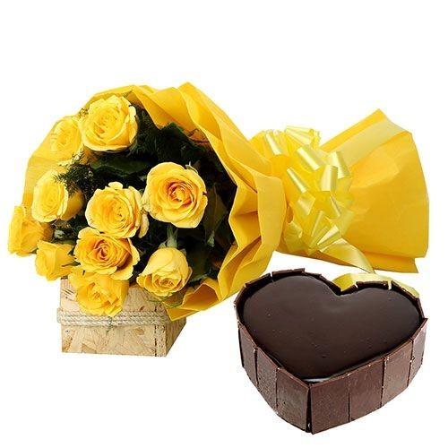 Chocolate heart shape cake with 10 yellow roses bunch