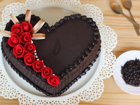 Chocolate truffle cake heart shape at cakejee