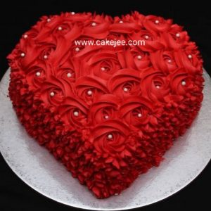Red velvet cake heart shape