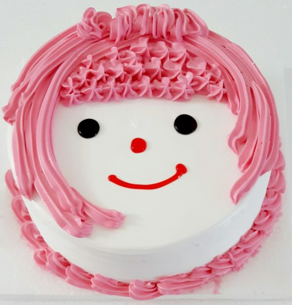 Smiley doll cake in black forest