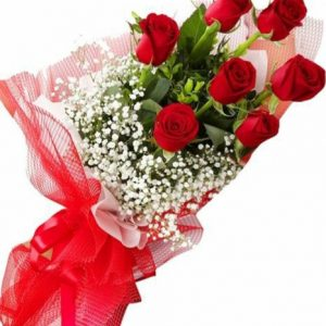 7 Red roses bunch for anniversary wedding and valentine