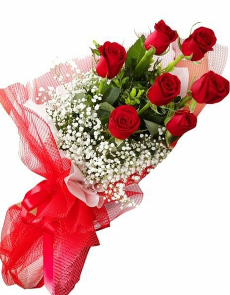 7 red roses bunch
