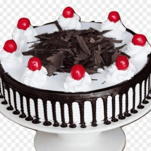 Black forest birthday cake topping with cherries