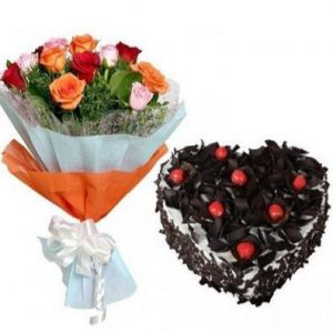 Black forest heart shape cake with 6 mixed roses bunch