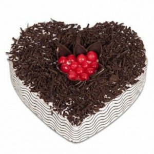Heart shape black forest cake for anniversary