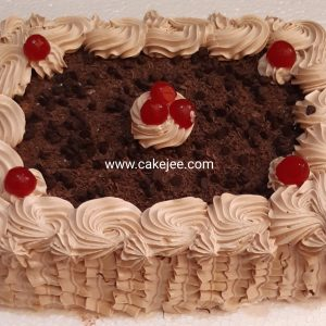 Special chocolate cake with fresh Cream and topping chocolate chips and chocolate