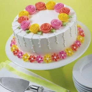 Special mixed color flowers cake