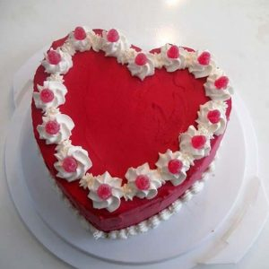 Strawberry heart shape valentine cake