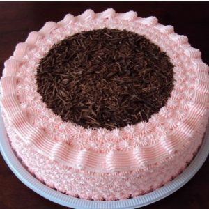 Black forest chocolate cake in pink color