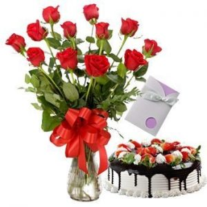 Combo- black forest cake and 12 red roses bunch with a birthday or anniversary card