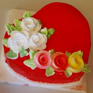 Heart shape cake in butter scotch